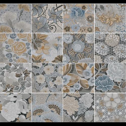 Carrelage imitation ciment floral 20x20 cm FLORE gris -   - Echantillon - zoom