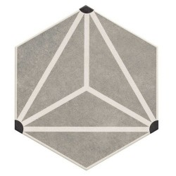 Carrelage tomette géométrique33x .5 OSAKA GREY -   - Echantillon Realonda