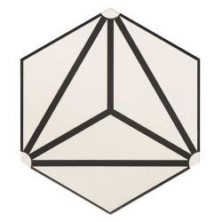 Carrelage tomette géométrique33x .5 OSAKA WHITE -   - Echantillon Realonda