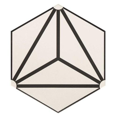 Carrelage tomette géométrique33x .5 OSAKA WHITE -   - Echantillon - zoom