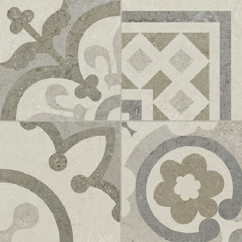 Carrelage Gris/Beige imitation décor carreau ciment 45x45 cm RIVIERA PEARL -   - Echantillon - zoom