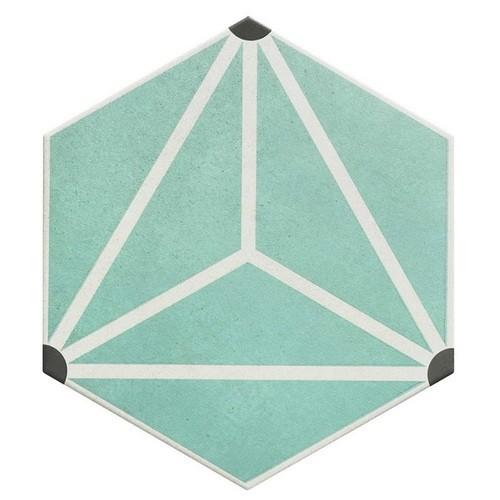 Carrelage tomette géométrique 33x .5 OSAKA AQUA -   - Echantillon - zoom
