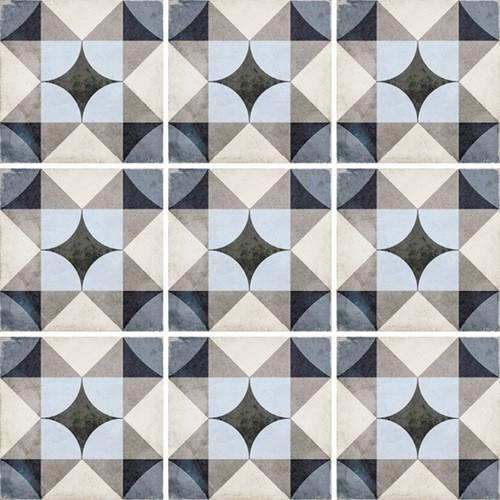 Carrelage style ciment 20x20 cm ART NOUVEAU PALAIS BLUE 24410 -   - Echantillon - zoom