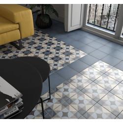 Carrelage style ciment 20x20 cm ART NOUVEAU PALAIS BLUE 24410 -   - Echantillon Equipe