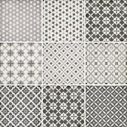 Carrelage style ciment patchwork 20x20 cm ART NOUVEAU ALAMEDA GREY 24420 -   - Echantillon Equipe