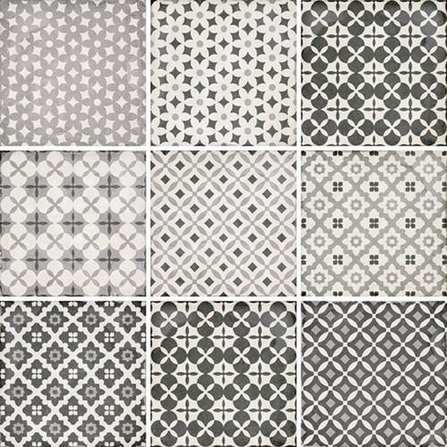 Carrelage style ciment patchwork 20x20 cm ART NOUVEAU ALAMEDA GREY 24420 -   - Echantillon - zoom