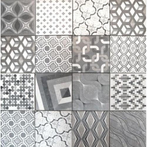 Carrelage imitation ciment style ancien 22.5x22.5 cm MARRAKECH MIX -    - Echantillon Natucer