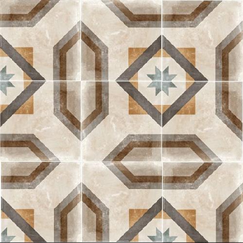 Carrelage imitation carreau de ciment ancien décor Grès Cérame 60x60 cm CELENO - 1 - Echantillon - zoom