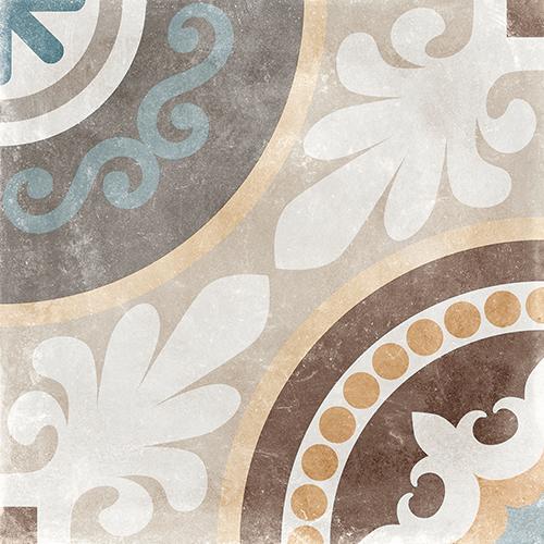 Carrelage imitation carreau de ciment ancien décor Grès Cérame 60x60 cm NAOS -   - Echantillon - zoom
