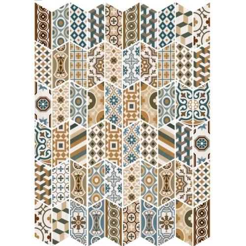 Chevron patchwork Color motifs anciens 9x2 cm -   - Echantillon Equipe