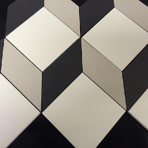 Carrelage cube géométrique pleine masse sur trame CUBO -  - Echantillon - zoom