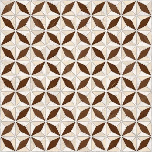 Carrelage imitation ciment géométrique 43x43 - Medix-Pr marron -   - Echantillon - zoom