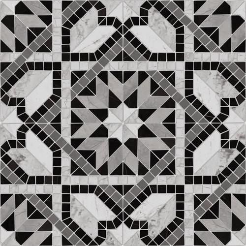 Carrelage style mosaïque étoilé 43.7x43.7 Cilena-Pr Negro -   - Echantillon - zoom