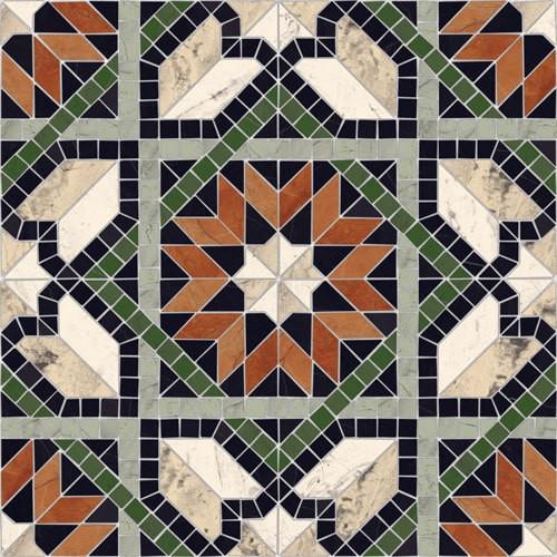 Carrelage mosaïque étoilé 43x43 Cilena Multicolor -   - Echantillon - zoom