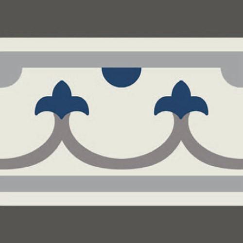Carrelage imitation ciment bordure décor bleu 20x20 cm PASION CENEFA AZUL - unité - Echantillon Ribesalbes