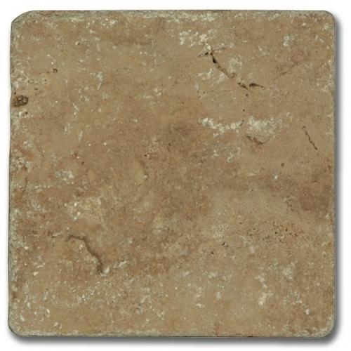 Carrelage pierre Travertin vieilli noce 10x10 cm - 0.  - Echantillon - zoom