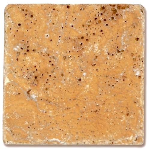 Carrelage pierre Travertin vieilli jaune 10x10 cm - 0.  - Echantillon - zoom