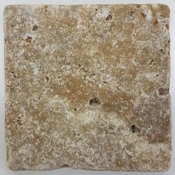 Carrelage pierre TRAVERTIN TR-TAS SCABOS beige noce 10x10CM - 1er choix- 0.  - Echantillon Nd