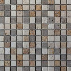 Mosaïque en pierre Travertin Mix 2.5x2.5 cm -   - Echantillon SF