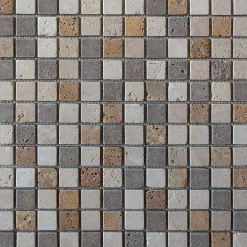 Mosaïque en pierre Travertin Mix 2.5x2.5 cm -   - Echantillon - zoom