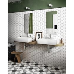 Carrelage hexagonal 17.5x20 Tomette design HEXATILE - BLANC CASSE MAT 20339    - Echantillon Equipe