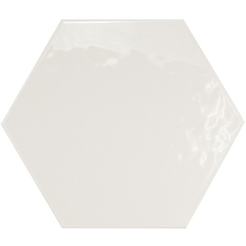 Carrelage hexagonal 17.5x20 Tomette design HEXATILE BLANC Brillant 20519    - Echantillon - zoom