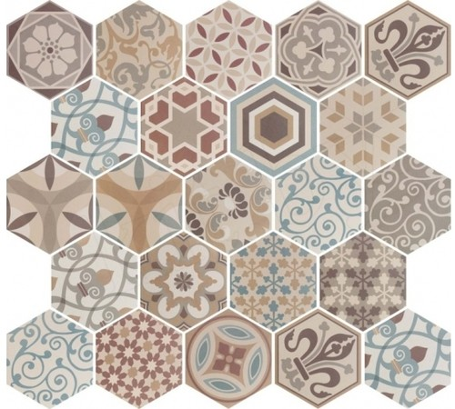Carrelage hexagonal 17.5x20 Tomette Harmony Colours 21356    - Echantillon - zoom
