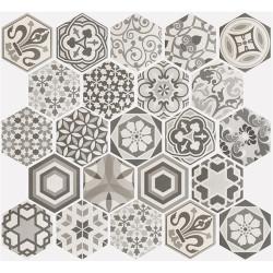 Carrelage hexagonal 17.5x20 Tomette Harmony B&W    - Echantillon Equipe