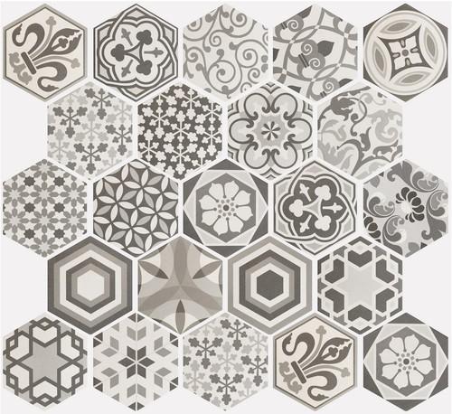 Carrelage hexagonal 17.5x20 Tomette Harmony B&W    - Echantillon - zoom