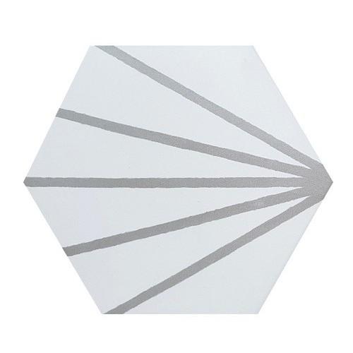 Tomette blanche à rayure grise motif dandelion MERAKI LINE GRIS 19.8x22.8 cm -   - Echantillon Bestile