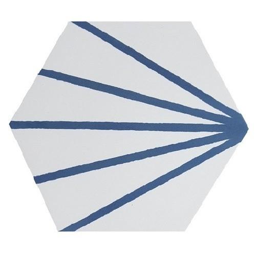 Tomette blanche à rayure bleu motif dandelion MERAKI LINE AZUL 19.8x22.8 cm -   - Echantillon Bestile