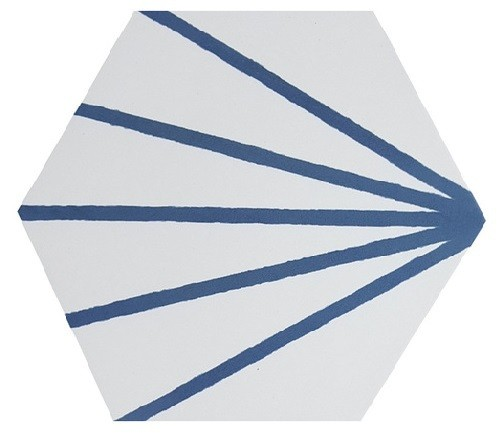 Tomette blanche à rayure bleu motif dandelion MERAKI LINE AZUL 19.8x22.8 cm -   - Echantillon - zoom