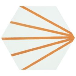 Tomette blanche à rayure orange motif dandelion MERAKI LINE MOSTAZA 19.8x22.8 cm -   - Echantillon Bestile