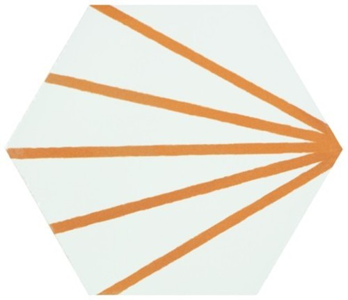 Tomette blanche à rayure orange motif dandelion MERAKI LINE MOSTAZA 19.8x22.8 cm -   - Echantillon - zoom