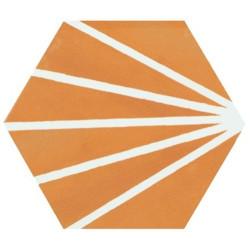 Tomette orange motif dandelion MERAKI MOSTAZA 19.8x22.8 cm -   - Echantillon Bestile