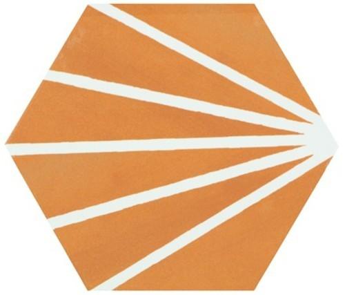 Tomette orange motif dandelion MERAKI MOSTAZA 19.8x22.8 cm -   - Echantillon - zoom