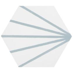 Tomette blanche à rayure turquoise motif dandelion MERAKI LINE AGUAMARINA 19.8x22.8 cm -   - Echantillon Bestile
