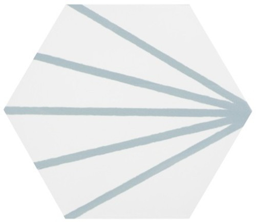 Tomette blanche à rayure turquoise motif dandelion MERAKI LINE AGUAMARINA 19.8x22.8 cm -   - Echantillon - zoom
