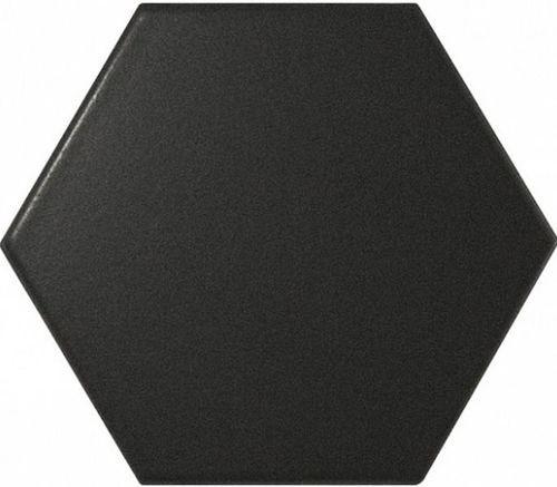 Faience SCALE HEXAGON BLACK MATT 21909 12.4x1 cm - - Echantillon - zoom