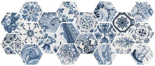 Tomette brillante patchwork bleu LISBOA 23216 sol ou mur 17x20 cm -    - Echantillon - zoom