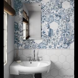 Tomette brillante patchwork bleu LISBOA 23216 sol ou mur 17x20 cm -    - Echantillon Equipe
