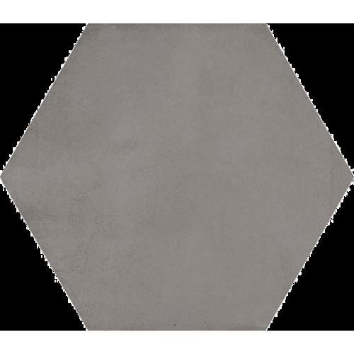 Carrelage hexagonal tomette décor anthracite 23x26.6cm BAMPTON GRAFITO -   - Echantillon Vives Azulejos y Gres