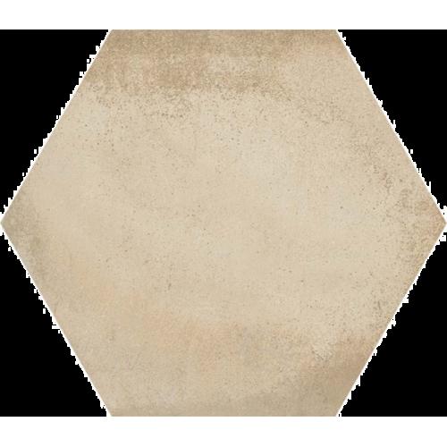 Carrelage hexagonal tomette décor crème 23x26.6cm BAMPTON BEIGE -   - Echantillon Vives Azulejos y Gres