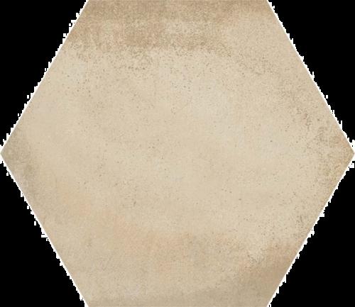 Carrelage hexagonal tomette décor crème 23x26.6cm BAMPTON BEIGE -   - Echantillon - zoom