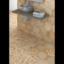 Carrelage hexagonal tomette décor 23x26.6cm BAMPTON Natural -   - Echantillon Vives Azulejos y Gres