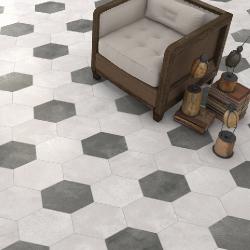 Carrelage hexagonal tomette blanche vieillie 23x26.6cm RIFT Blanche -   - Echantillon Vives Azulejos y Gres