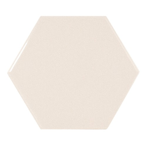 Carreau crème brillant 12.4x1 cm SCALE HEXAGON CREAM - - Echantillon - zoom
