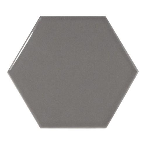 Carreau gris foncé brillant 12.4x1 cm SCALE HEXAGON DARK GREY 21913 -  - Echantillon Equipe