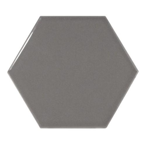 Carreau gris foncé brillant 12.4x1 cm SCALE HEXAGON DARK GREY 21913 -  - Echantillon - zoom