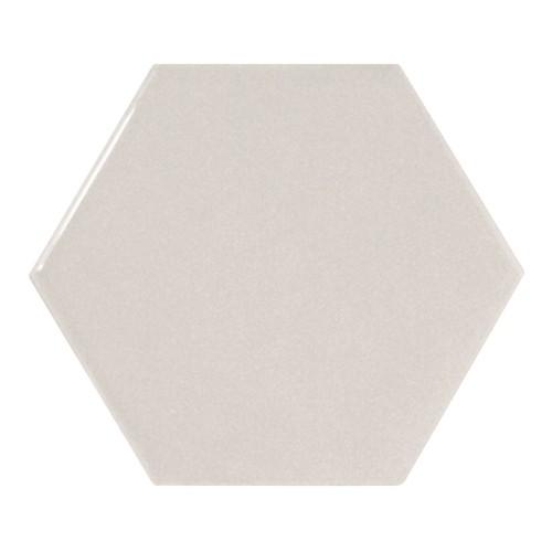 Carreau gris clair brillant 12.4x1 cm SCALE HEXAGON LIGHT GREY - 21912 -  - Echantillon - zoom
